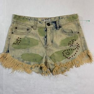 Free People Camo Frayed BOHO Jean Shorts 26